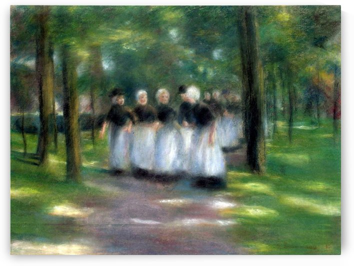 Sunday Afternoon in Laren-Alley with Girls by Max Liebermann