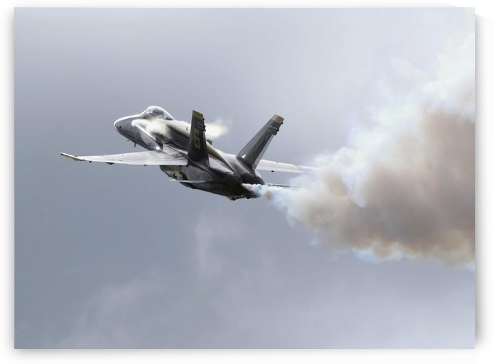 Lead solo pilot of the Blue Angels demonstrates a section high alpha maneuver at an air show. by StocktrekImages