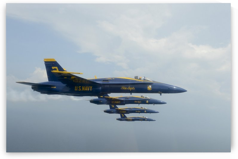 F-A-18 Hornets from the U.S. Navy Blue Angels team. by StocktrekImages