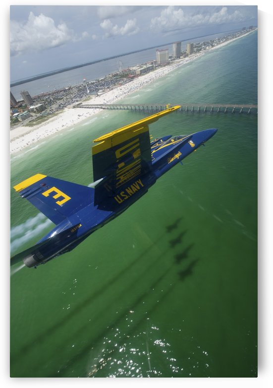 The Blue Angels perform a practice flight demonstration over Florida. by StocktrekImages