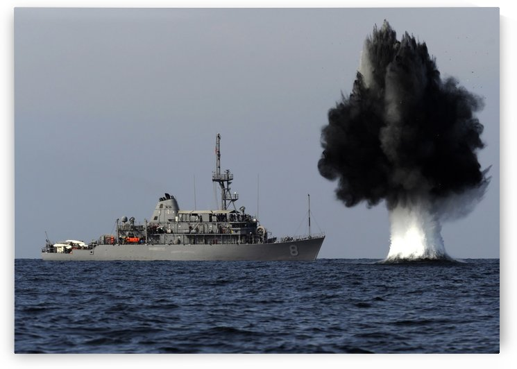 A demolition charge detonates 1500 meters in front of USS Scout. by StocktrekImages