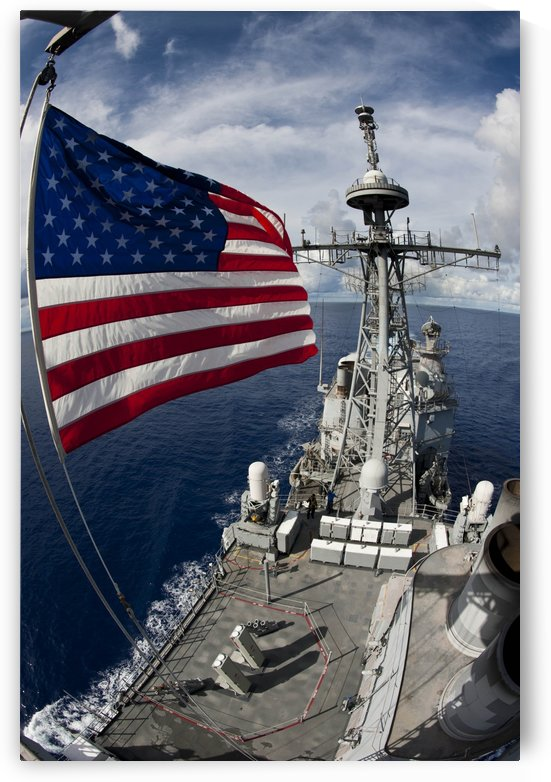 USS Cowpens as seen from the top of the forward mast. by StocktrekImages