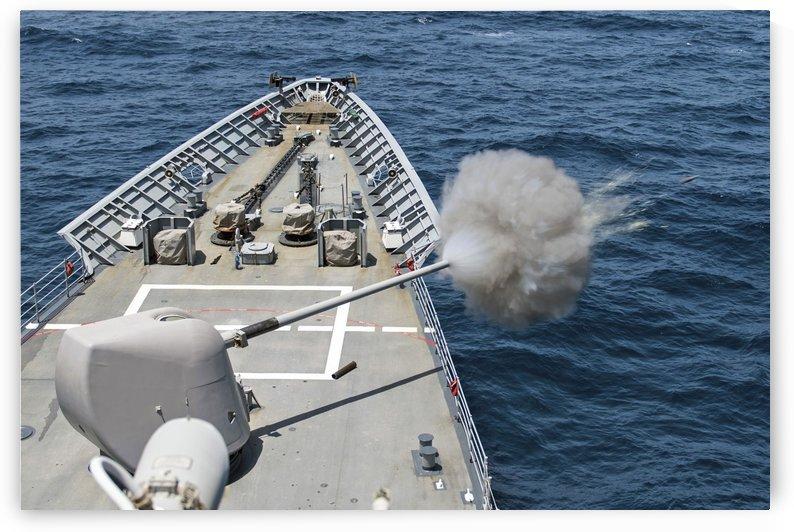 USS Philippine Sea fires its Mk-45 lightweight gun by StocktrekImages