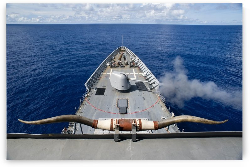 USS Cowpens fires its Mk 45 Mod 2 gun. by StocktrekImages