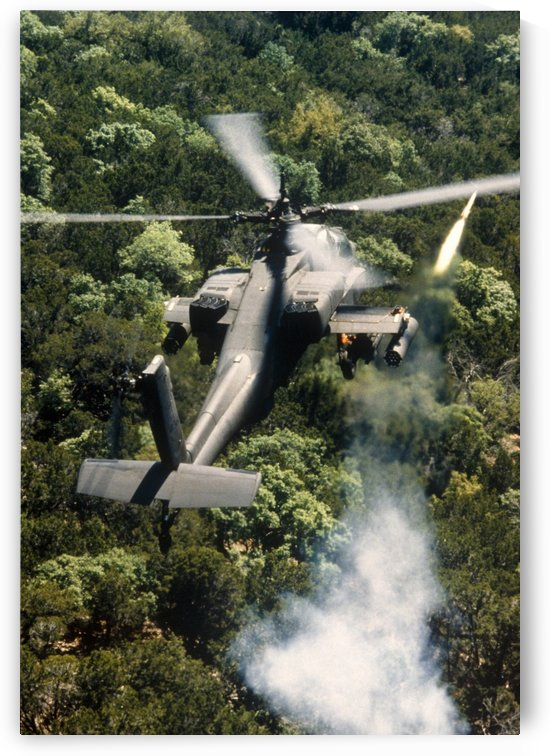 Apache Helicopter Firing by StocktrekImages