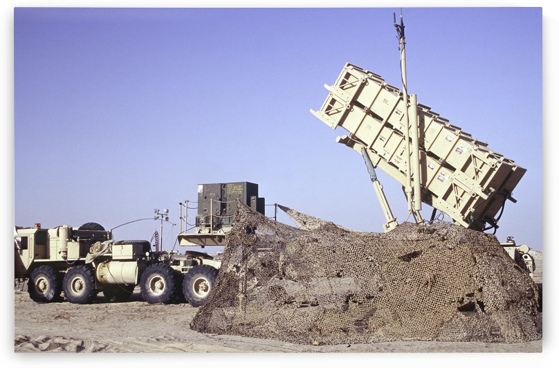 A U.S. Army Patriot surface-to-air M901 missile launcher in Kuwait. by StocktrekImages