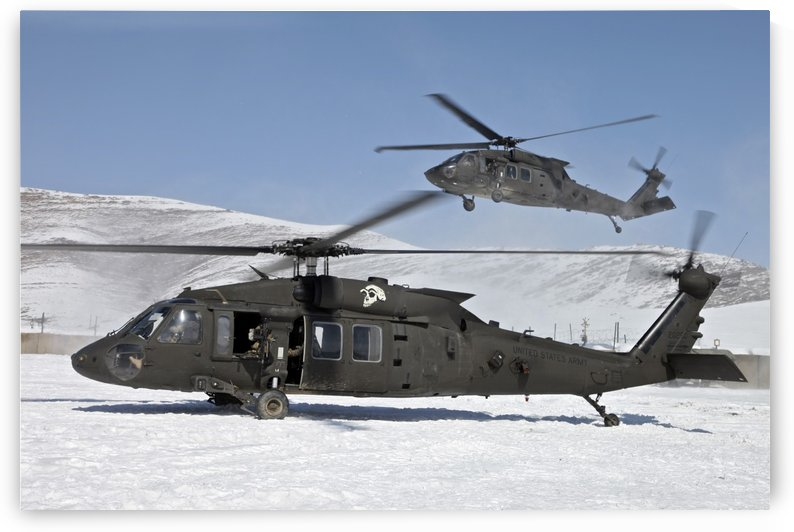 Two U.S. Army UH-60 Black Hawk helicopters. by StocktrekImages