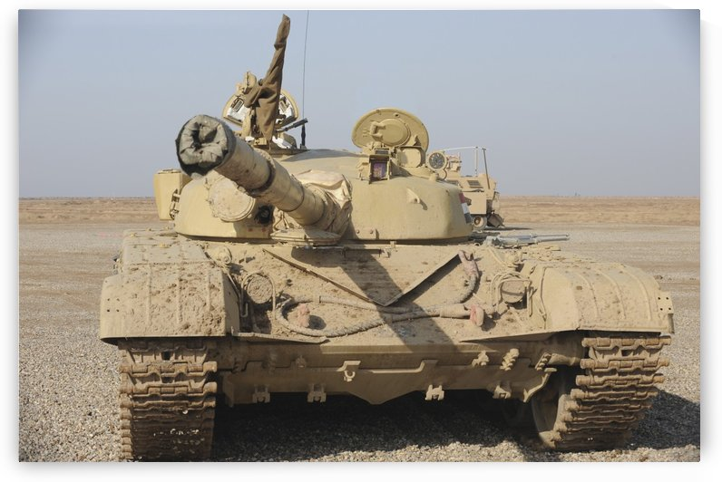 An Iraqi T-72 tank at the Besmaya gunnery range iraq. by StocktrekImages