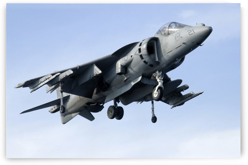An AV-8B Harrier in flight. by StocktrekImages