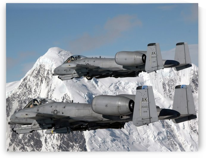 A-10 Thunderbolt IIs fly over mountainous landscape. by StocktrekImages