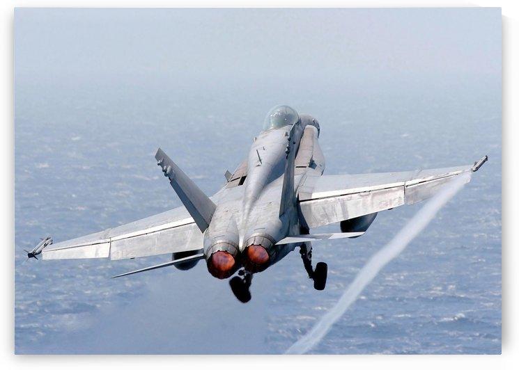 An F-A-18 Hornet taking off. by StocktrekImages