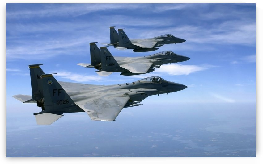 The F-15 Eagles final training mission over the the Atlantic Ocean. by StocktrekImages