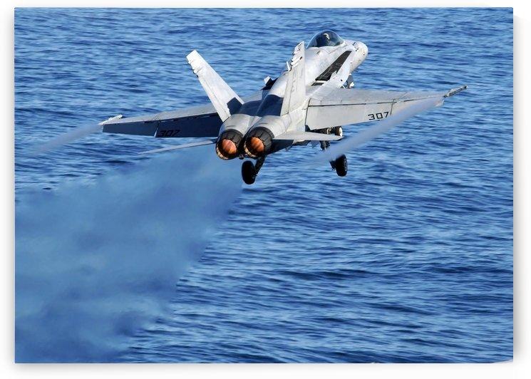 An F-A-18C Hornet taking off. by StocktrekImages
