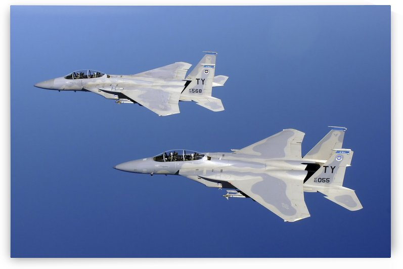 Two F-15 Eagles fly in formation.  by StocktrekImages
