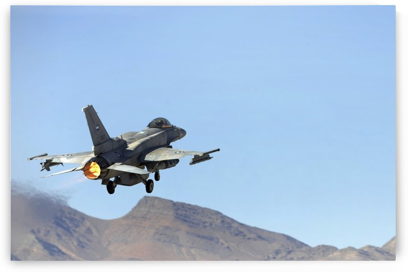 An F-16E from the United Arab Emirates taking off for a training mission at Nellis Air Force Base Nevada. by StocktrekImages