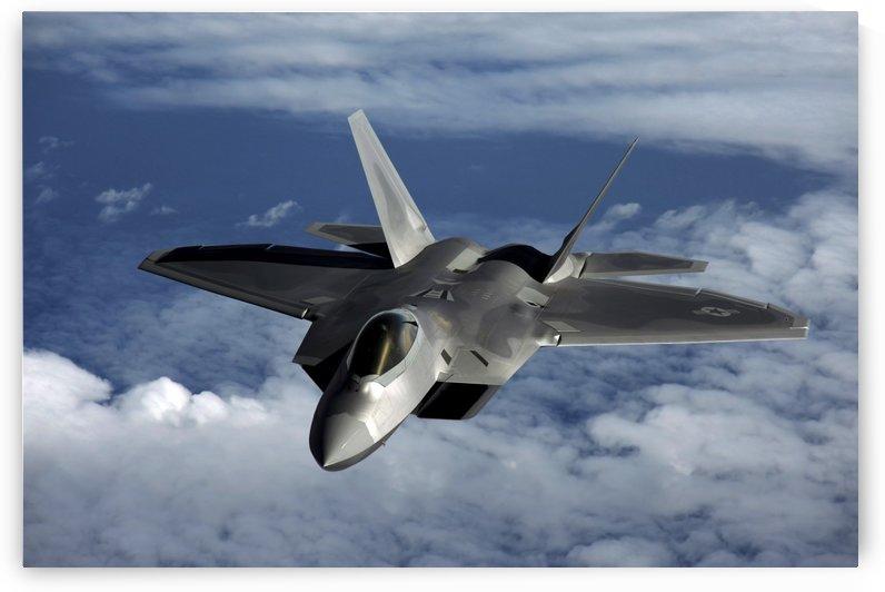 A U.S. Air Force F-22 Raptor aircraft flies near Guam. by StocktrekImages