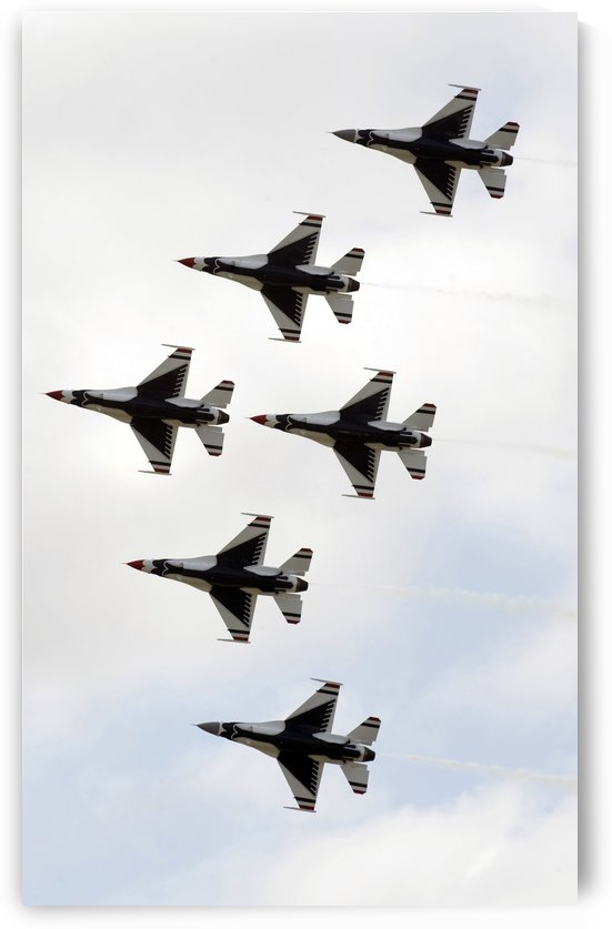 The Thunderbirds form a 6-ship Delta formation. by StocktrekImages