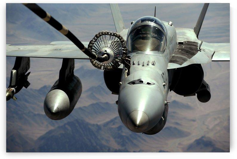 An F-A-18C Hornet receives fuel from the drogue of a KC-10 Extender. by StocktrekImages
