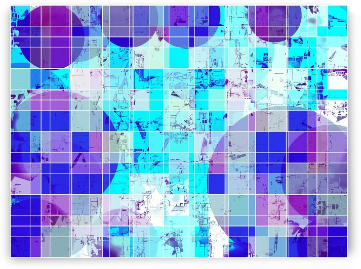 geometric square and circle pattern abstract in blue by TimmyLA