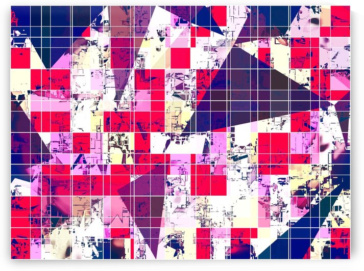 geometric square and triangle pattern abstract in red and blue by TimmyLA