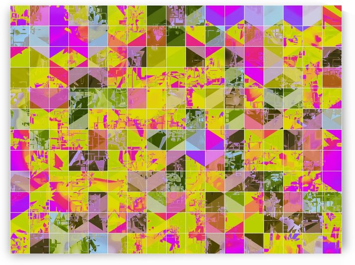 geometric square pattern abstract in yellow green pink by TimmyLA