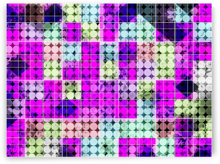 geometric square and circle pattern abstract in pink blue by TimmyLA