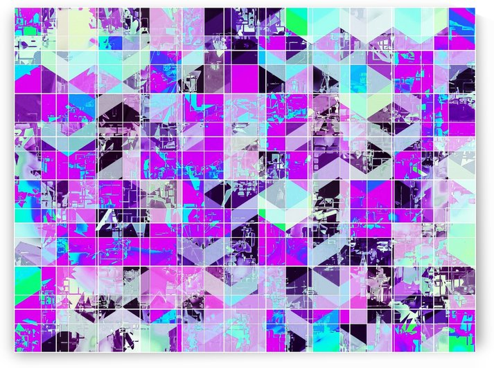 geometric square pattern abstract in purple blue by TimmyLA