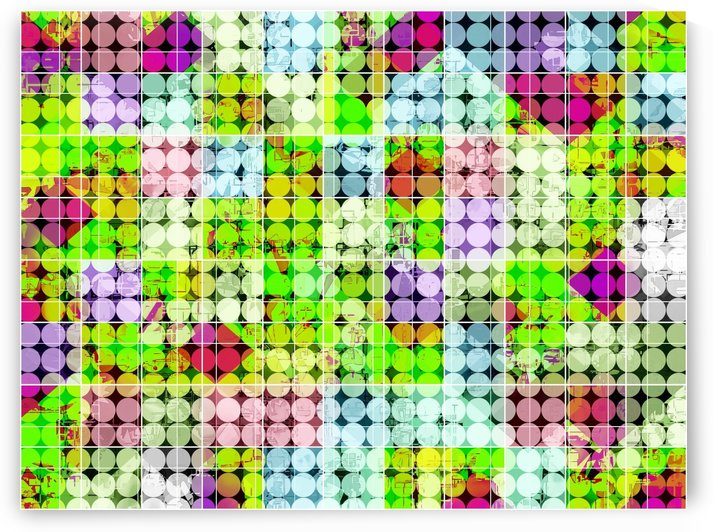 geometric square and circle pattern abstract in green pink by TimmyLA