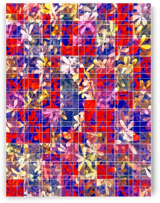 blooming flower with square pattern abstract in red and blue by TimmyLA