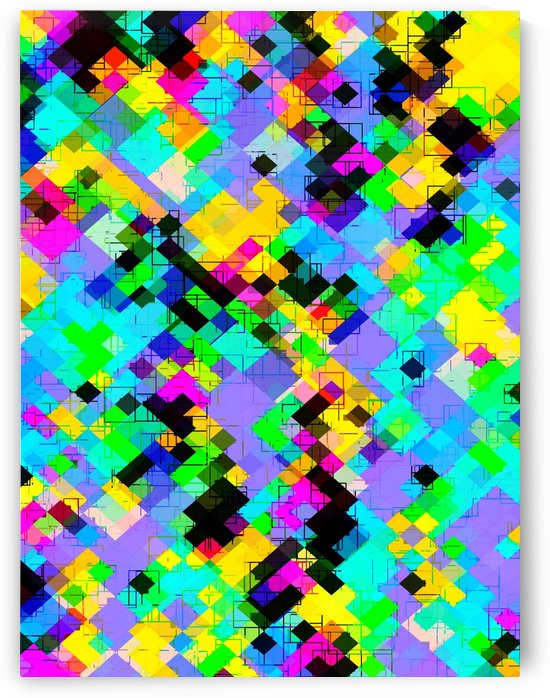 geometric square pixel pattern abstract in blue green yellow pink by TimmyLA