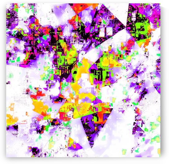 geometric triangle pattern abstract in purple yellow green by TimmyLA