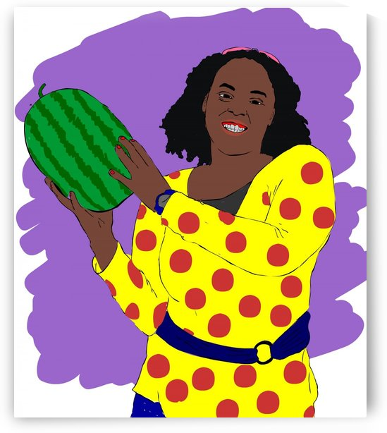 Black woman holding fruit by tymer art