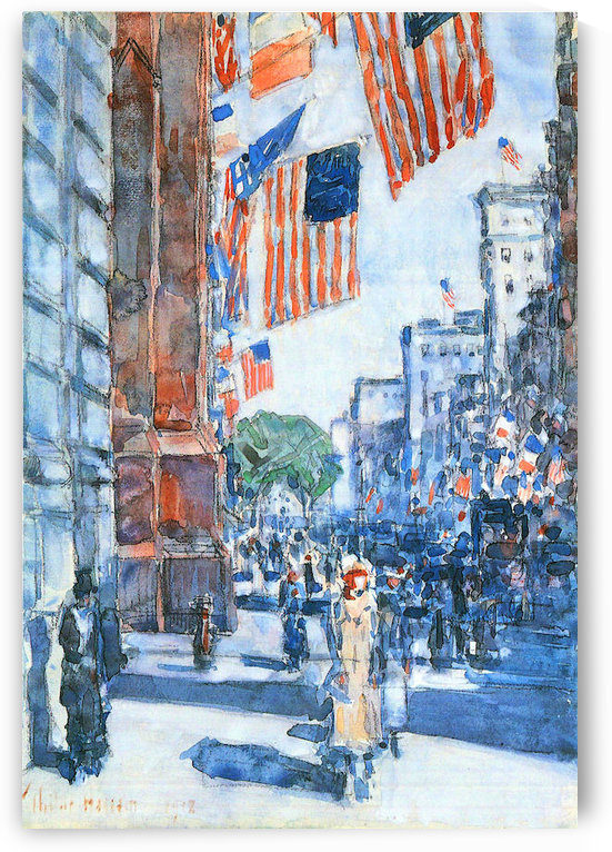 Flags, Fifth Avenue by Hassam by Hassam