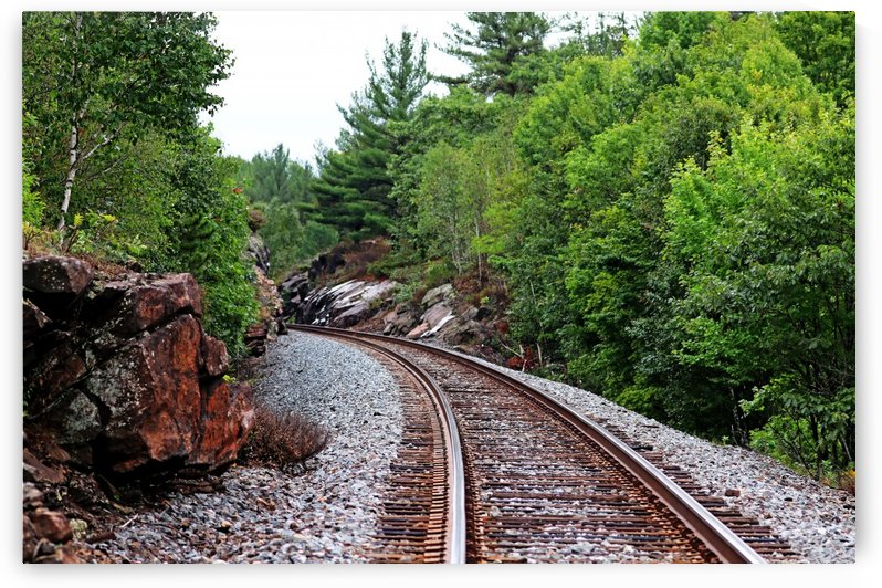 CPR Tracks At Pointe Au Baril by Deb Oppermann