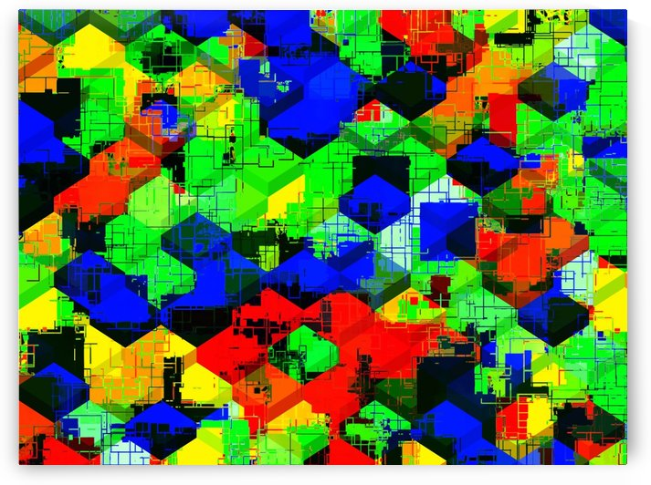 geometric square pattern abstract in green blue red by TimmyLA
