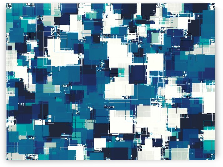 geometric square pattern abstract background in blue by TimmyLA