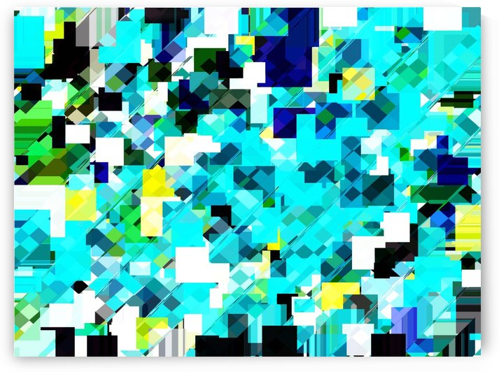 geometric square pixel pattern abstract in blue and yellow by TimmyLA