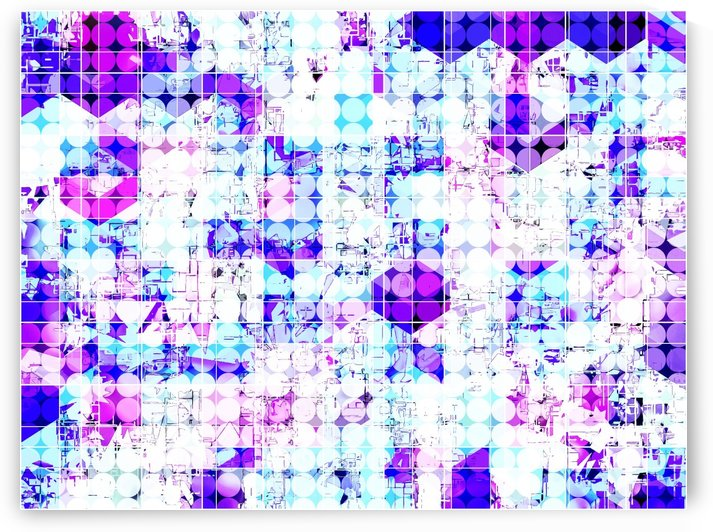 geometric square and circle pattern abstract background in pink blue by TimmyLA