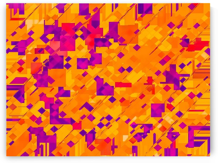 geometric square pixel pattern abstract background in orange purple blue by TimmyLA