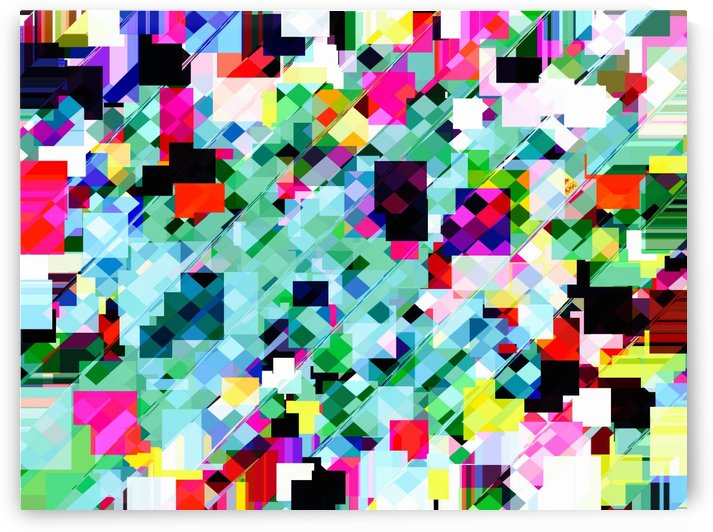 geometric square pixel pattern abstract in green pink blue yellow by TimmyLA