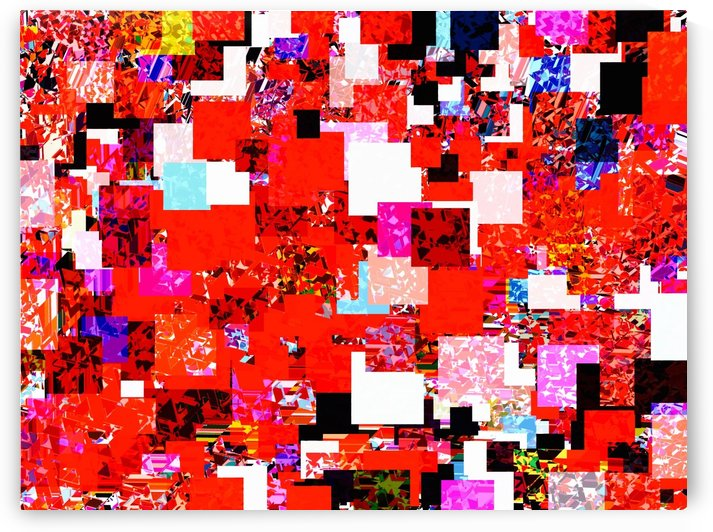 geometric square pixel pattern abstract in red blue pink by TimmyLA
