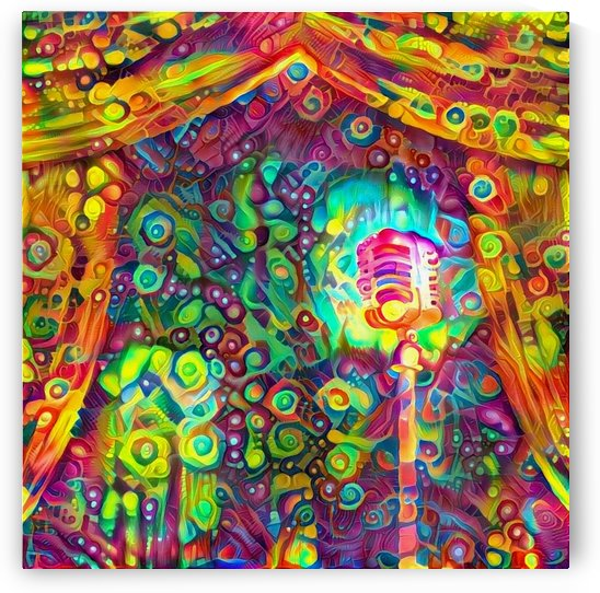 Classic Microphone with Colorful Curtains by Bruce Rolff