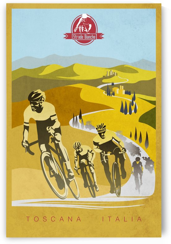 retro Strade Bianche cycling poster by Sassan Filsoof