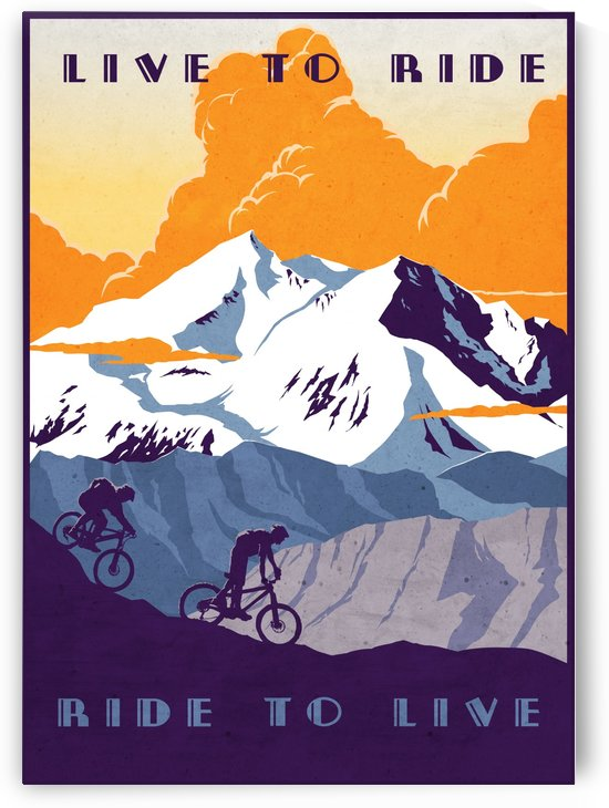 Live to Ride Ride to Live cycling poster by Sassan Filsoof