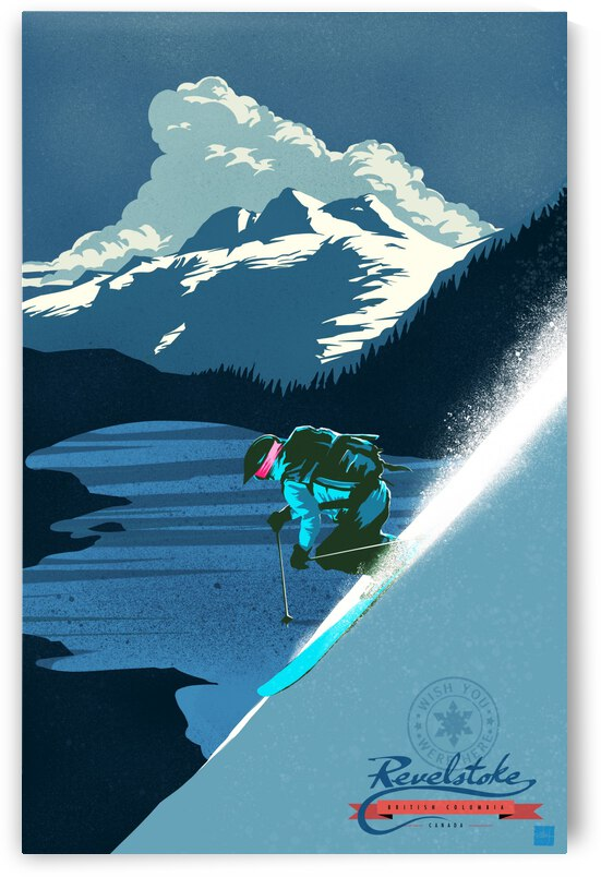 Retro Ski Poster by Sassan Filsoof