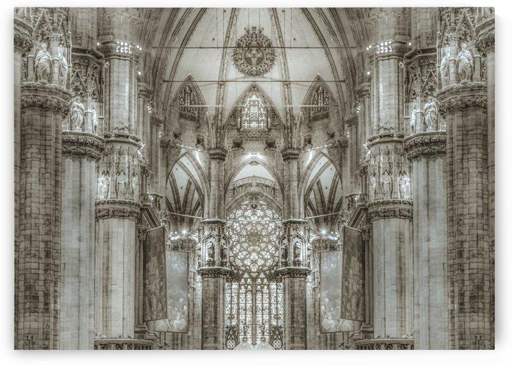 Black and White Milan Duomo Cathedral Interior View by Daniel Ferreia Leites Ciccarino