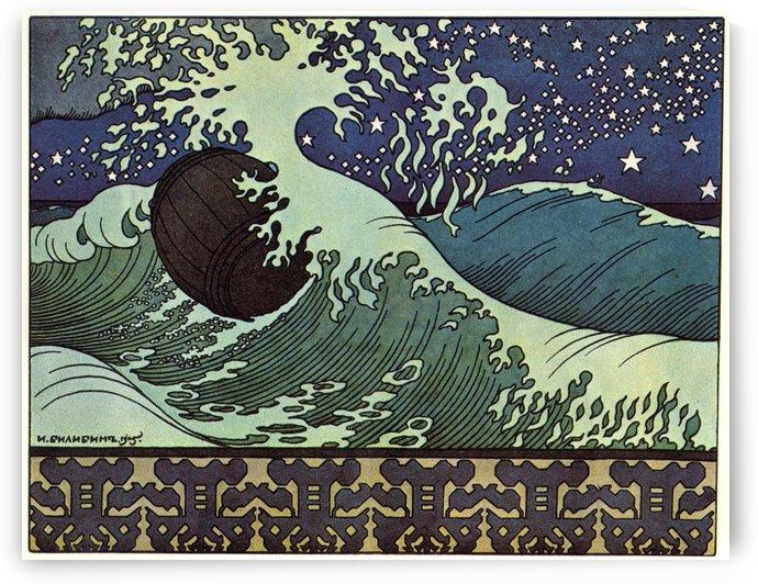 The son of Czar Saltan travels the sea in a barrel by Ivan Bilibin