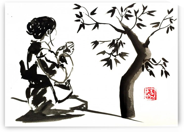 geisha with tree by pechane