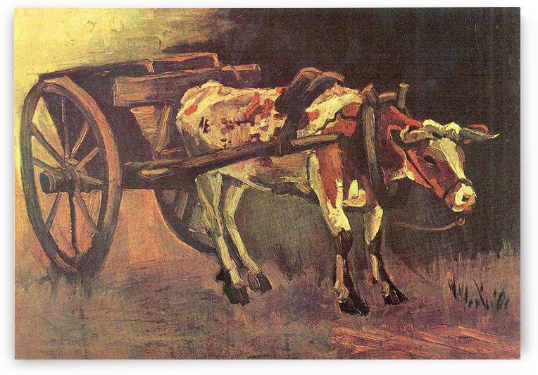 Ox carts with brown Ox by Van Gogh by Van Gogh