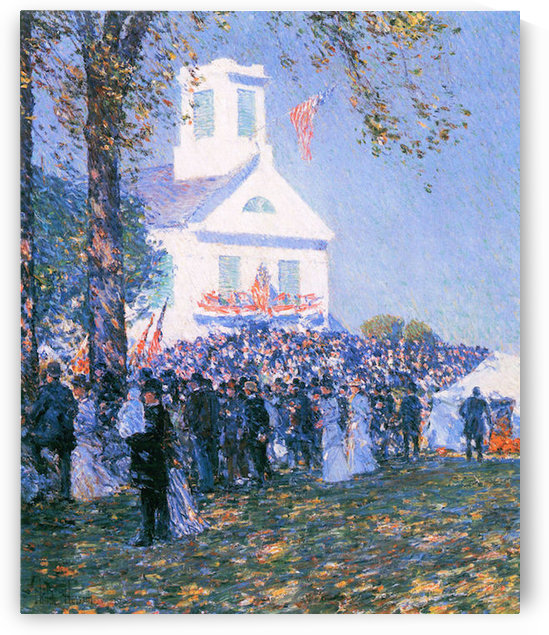 Harvest in a village in New England by Hassam by Hassam